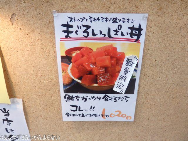 魚市場食堂で「まぐろいっぱい丼」のメニュー