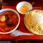 小金井大勝軒で「辛味特製もりそば」をいただく。酸味に辛味が加わってさっぱり食べられるつけ麺!
