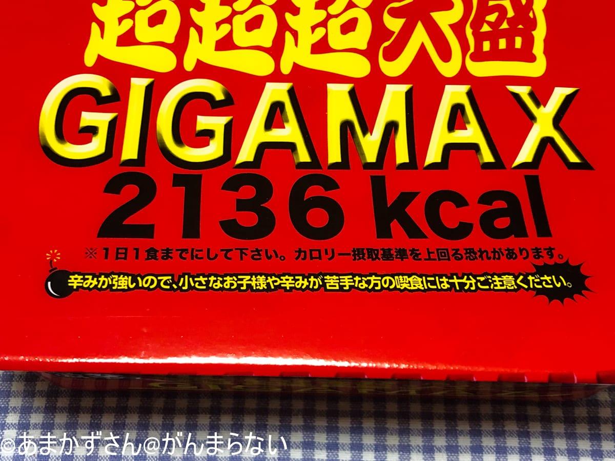 ペヤング「激辛やきそば 超超超大盛 GIGAMAX」の警告文