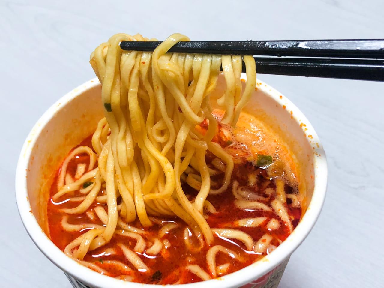 「蒙古タンメン中本 北極ラーメン」の麺