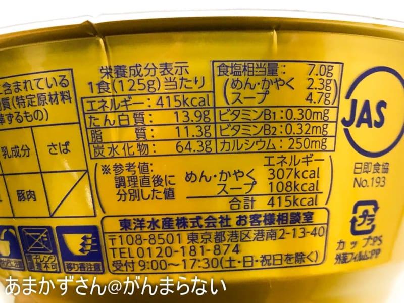 マルちゃん正麺 カップ 濃ニボの成分表示とカロリー