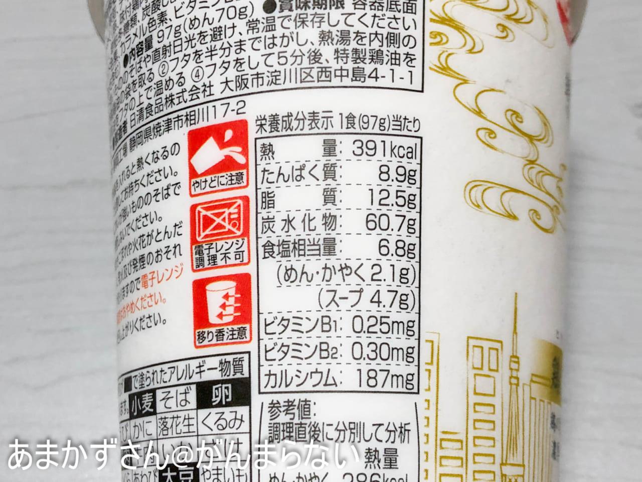 東京NOODLES 篝 鶏白湯Sobaの成分表示